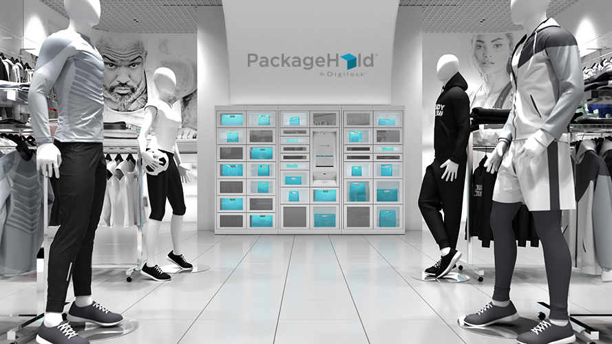 Sports retail store with PackageHold locker